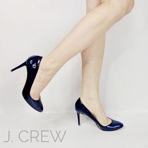 J.CREW Sloane blue patent leather pump almond toe